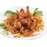 ソフトシェルクラブのチリソース Kani Chili Sauteed with Soft shell Crab served with Spicy Tomato Sauce $25.00/$ 13.00