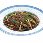 青椒牛絲 Qin Zhao Rosi Shredded Beef & Green Pepper Sauteed with Bamboo Shoots $22.00/$12.00