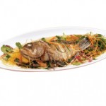 季節の魚 丸蒸しネギソース Sakana Marumushi Steamed Whole Seasonal Fish Topped with Special scallion Sauce $25.00
